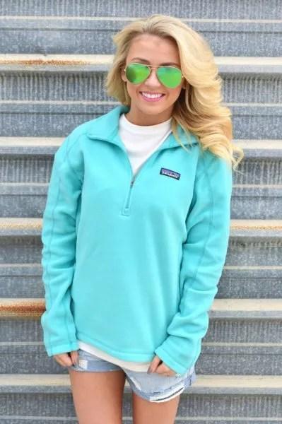 sky blue quarter zip pullover mini denim shorts