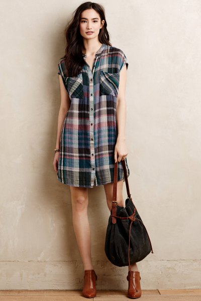 sleeveless plaid tunic brown leather ankle boots