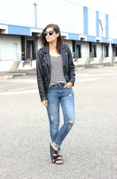 slide sandals black leather jacket ripped jeans