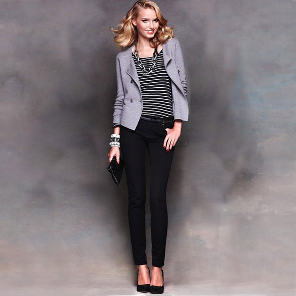 striped tee grey blazer black ponte pants
