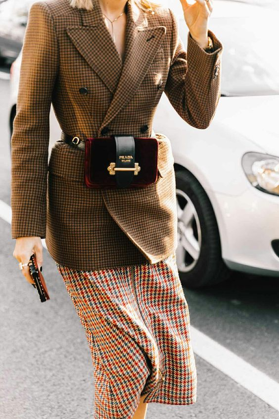 tweed blazer plaid belt bag
