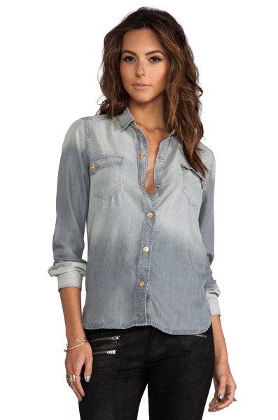washed grey denim slim fit shirt black leather pants