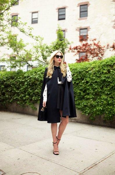 white and black polka dot shirt skater skirt