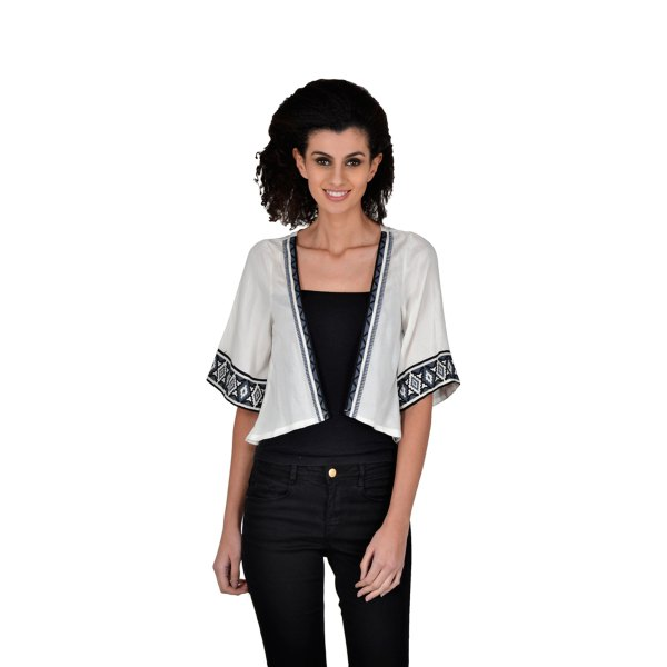 white and black tribal printed silk shrug