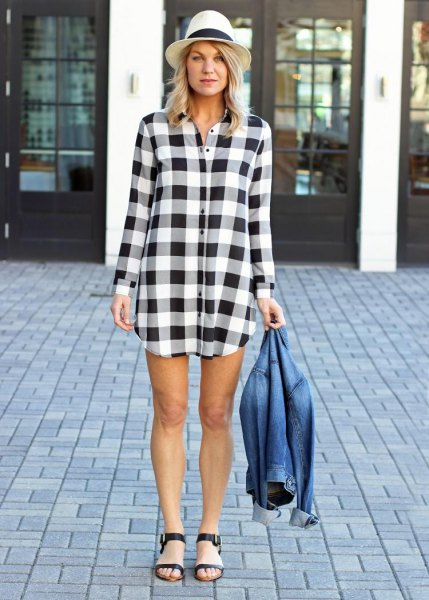 white and black tunic denim jacket
