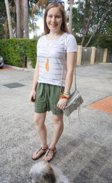 white and silver horizontal striped t shirt khaki embroidered shorts