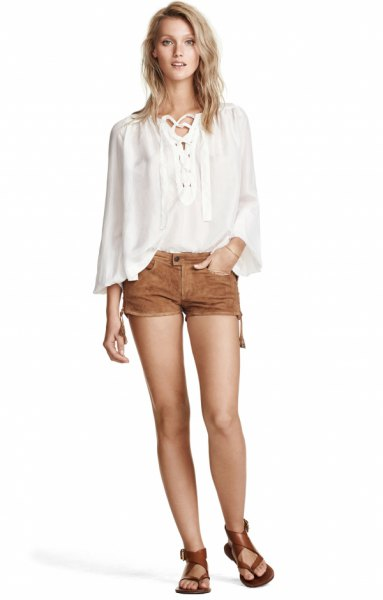 white batwing blouse mini suede shorts