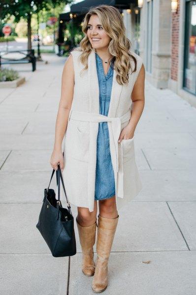 white belted long sleeveless vest chambray shirt dress