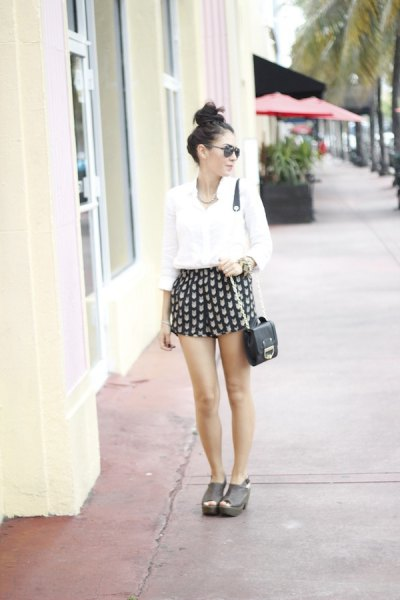 white button up blouse black and pink printed cute flowy shorts