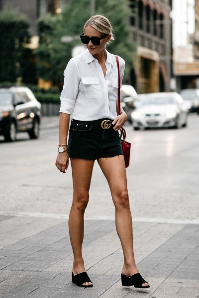 ef81861879 15 Best Outfit Ideas on How to Wear Black Denim Shorts - FMag.com