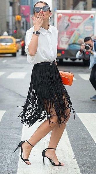 white button up shirt black pencil skirt