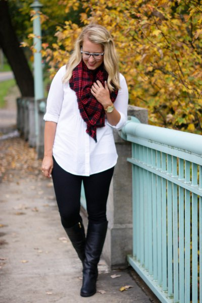 white button up shirt red and black plaid scarf ponte pants