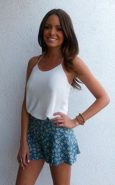 white camisole navy floral shorts