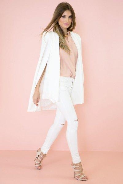 white cape blazer blush pink blouse