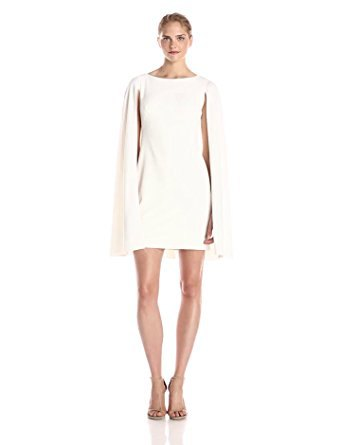 white cape shift dress pale pink heels