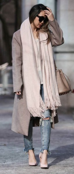 white cashmere scarf grey long wool coat