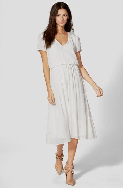 white chiffon flared midi dress