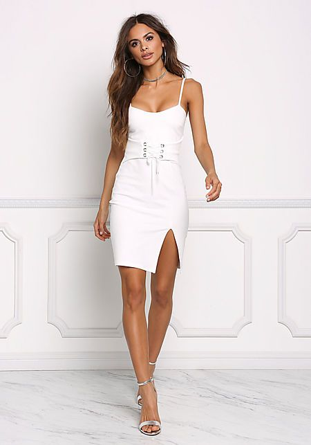 white corset dress waistband