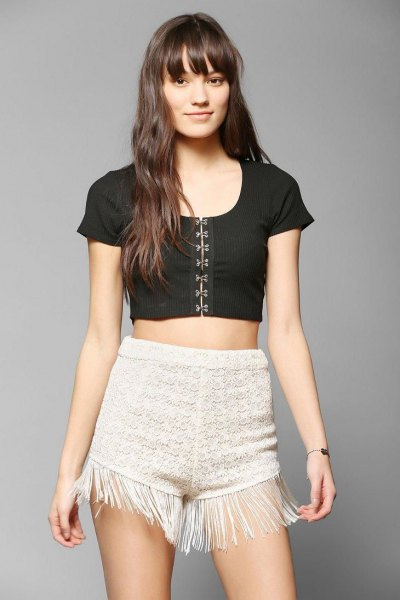 white crochet fringe shorts black short sleeve crop top