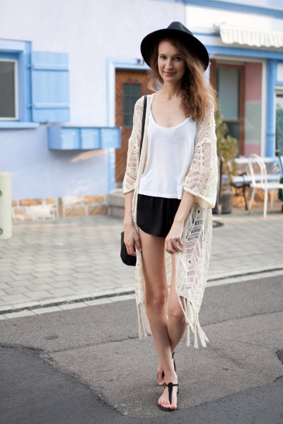 white crochet lace kimono vest top black shorts