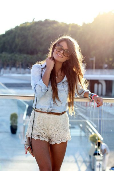 white crochet mini shorts blue chambray shirt