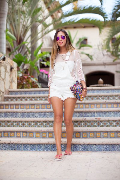 white denim overall shorts mesh long sleeve top