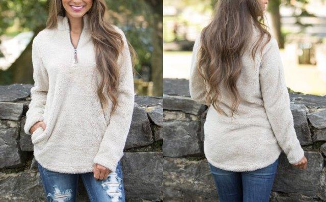 white fleece zip quarter pullover blue zipped skinny jeans