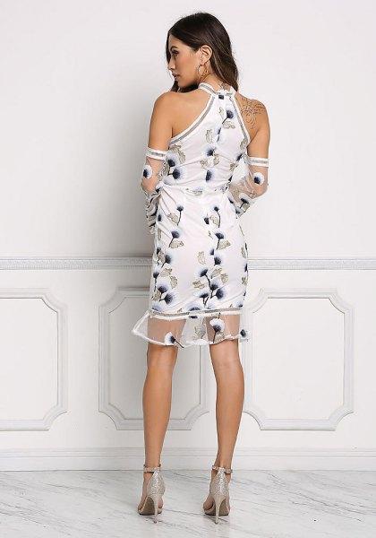 white floral embroidered halter neck mini dress