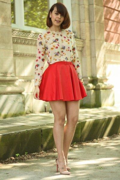 white floral long sleeve blouse red pleated mini skater skirt