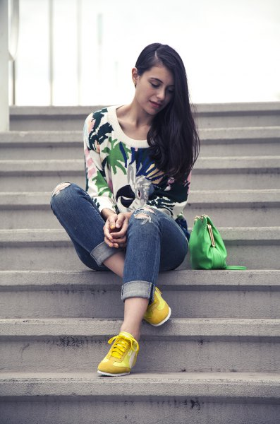 white floral printed sweatshirt yellow sneakers