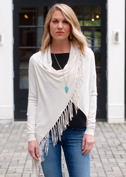 white fringe wrap black tee jeans