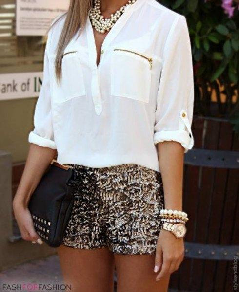 white front pocket chiffon shirt gold sequin shorts