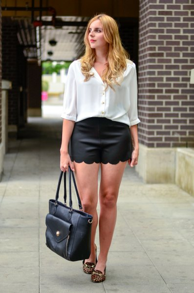 white half sleeve button up shirt black scalloped shorts