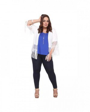 white knit fringe shrug royal blue top