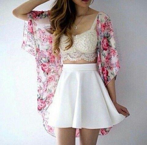 white lace bralette high waisted skater mini skirt