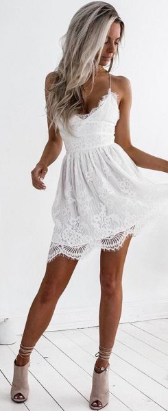 white lace cami skater dress