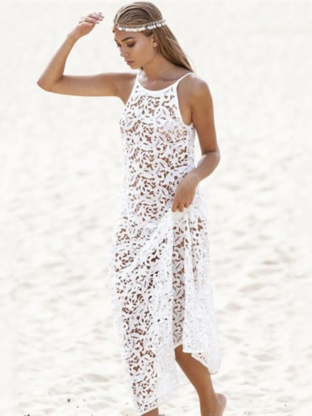 white lace semi sheer cover up beach dress