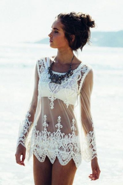 white lace sheer cover up dress