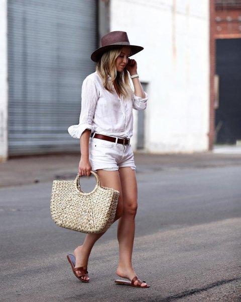 white linen shirt denim shorts black sandals