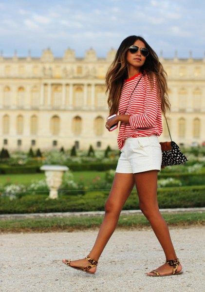 white linen shorts leopard print sandals