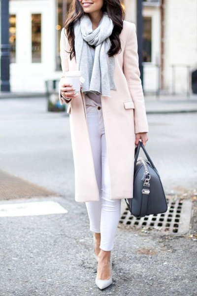 white long wool coat skinny jeans