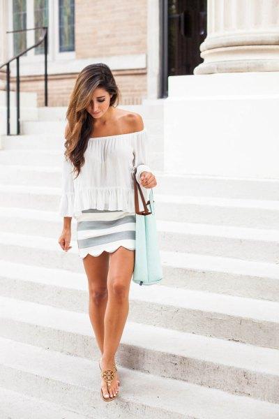 white off shoulder blouse pink striped scalloped hem skirt