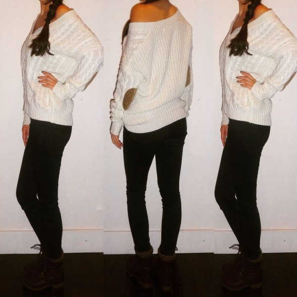 white one shoulder cable knit elbow patch sweater