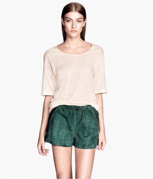 white oversized t shirt dark grey suede shorts