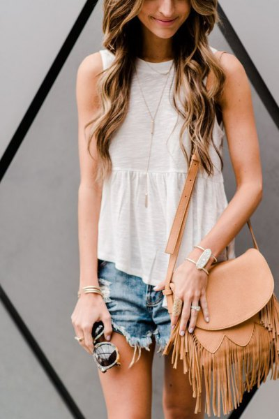 white peplum ruffle top denim shorts