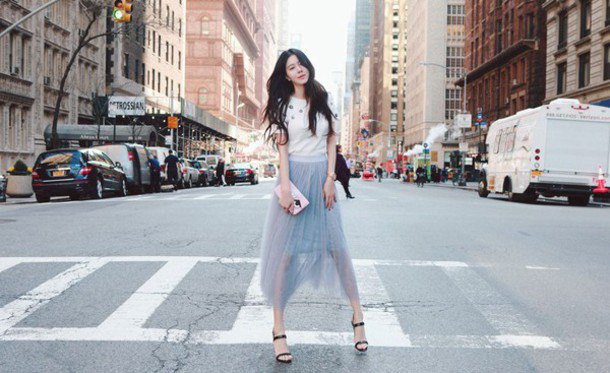 white printed tee with teal chiffon sheer maxi skirt