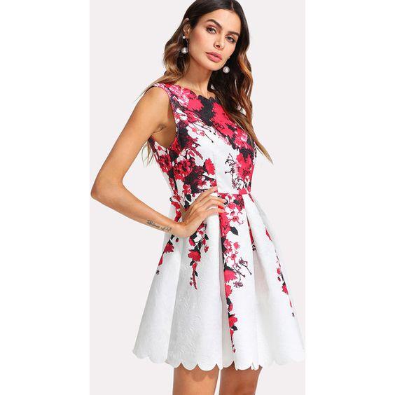 white scalloped dress floral print