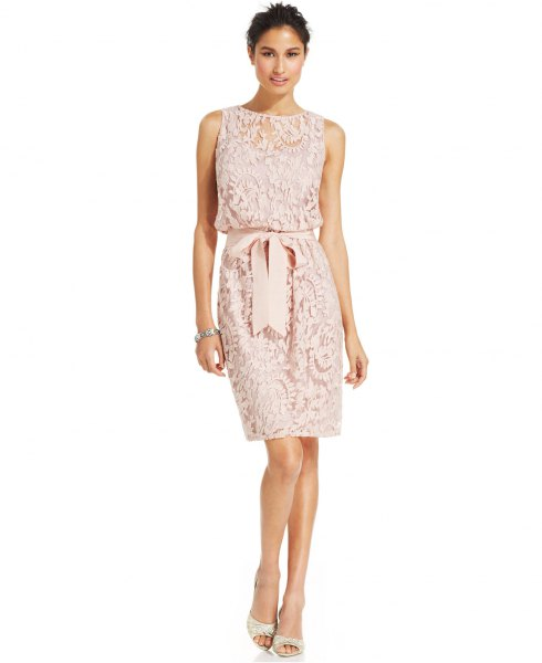 white sleeveless belted lace bodycon knee length dress