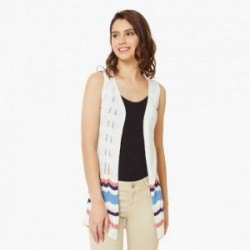 white sleeveless shrug color block details