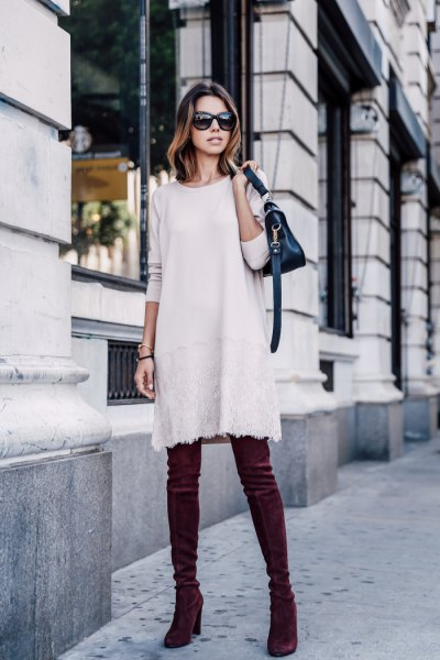 white sweater dress blue vevlet thigh high heeled boots